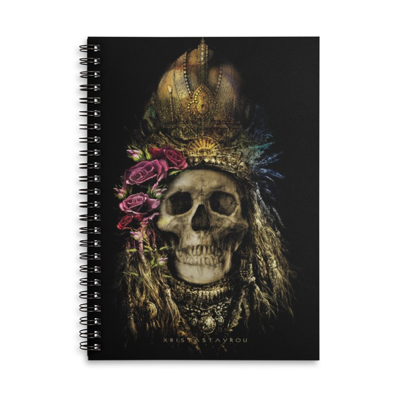 Skull Queen with Roses V2 Accessories Lined Spiral Notebook by xristastavrou