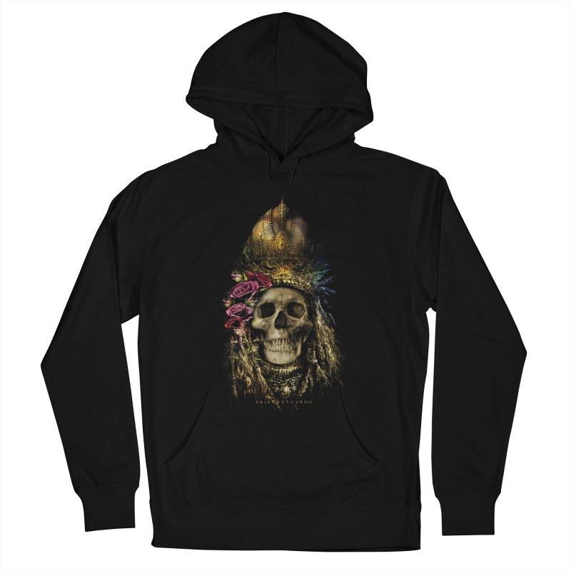 Skull Queen with Roses V2 Men's French Terry Pullover Hoody by xristastavrou