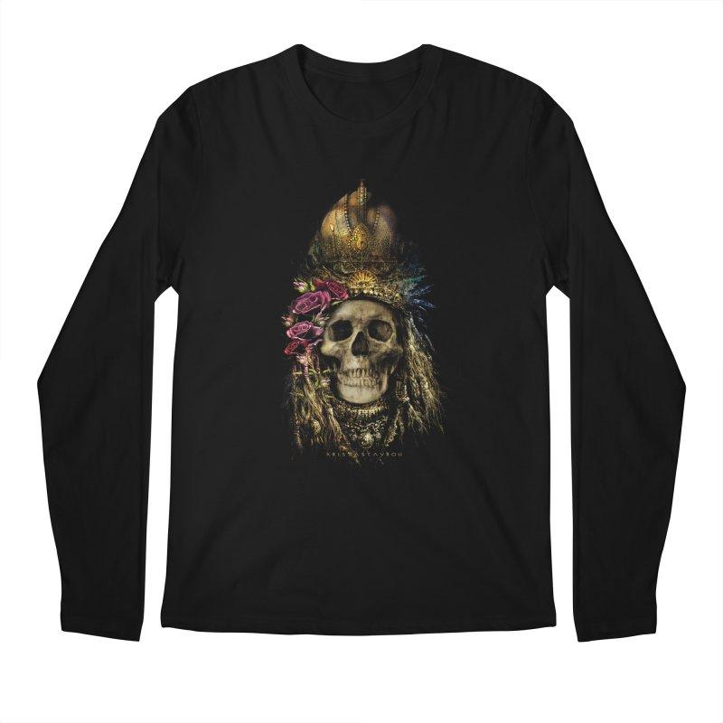 Skull Queen with Roses V2 Men's Regular Longsleeve T-Shirt by xristastavrou