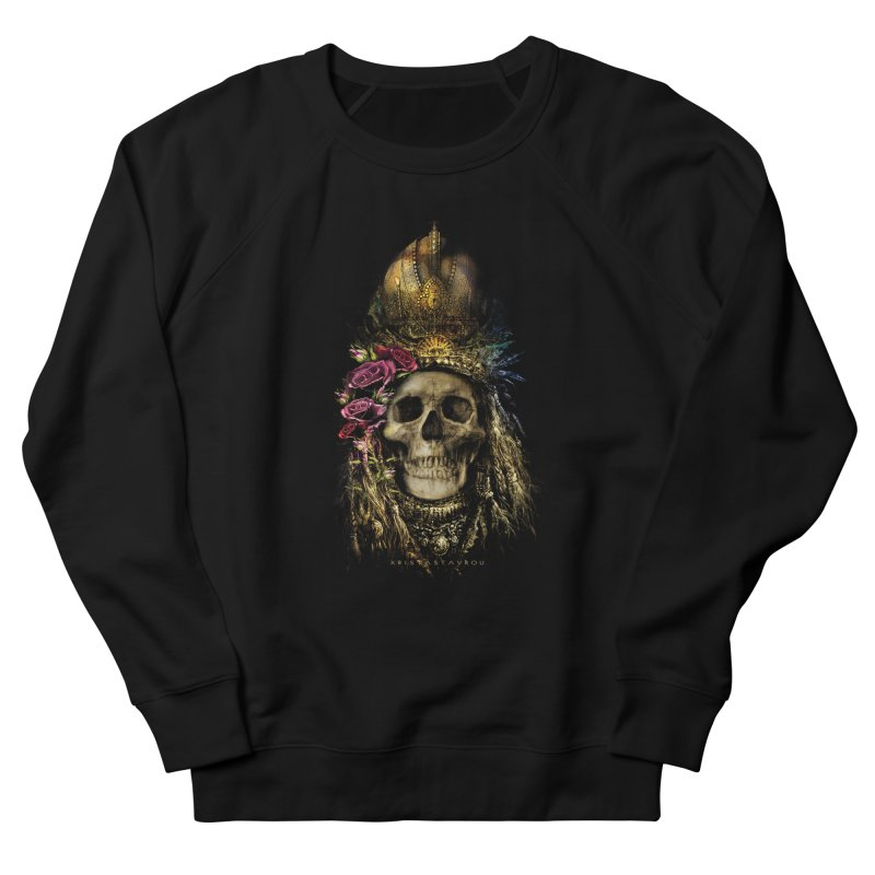 Skull Queen with Roses V2 Men's French Terry Sweatshirt by xristastavrou