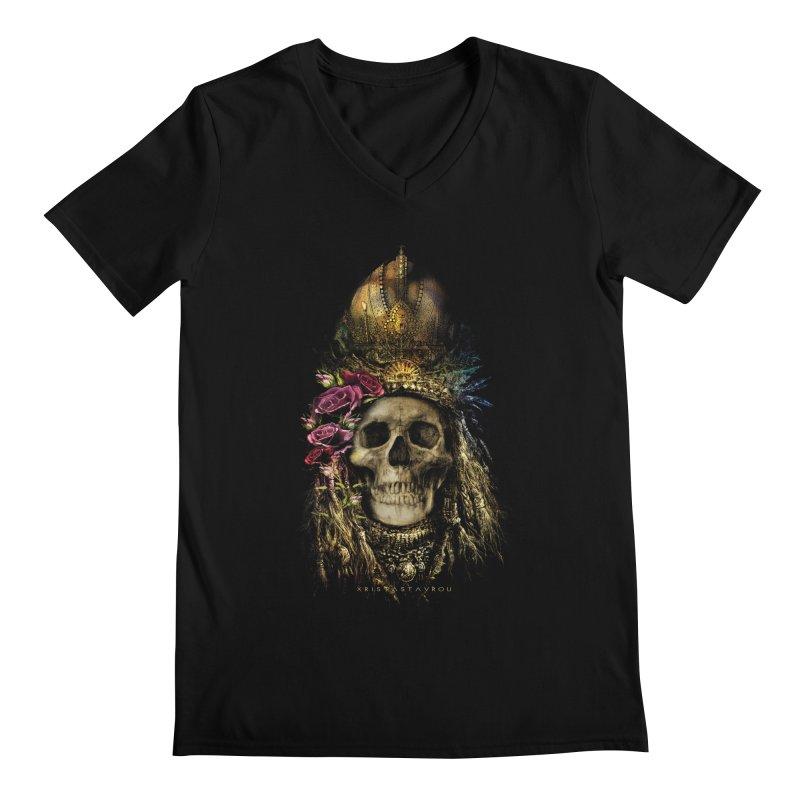 Skull Queen with Roses V2 Men's Regular V-Neck by xristastavrou