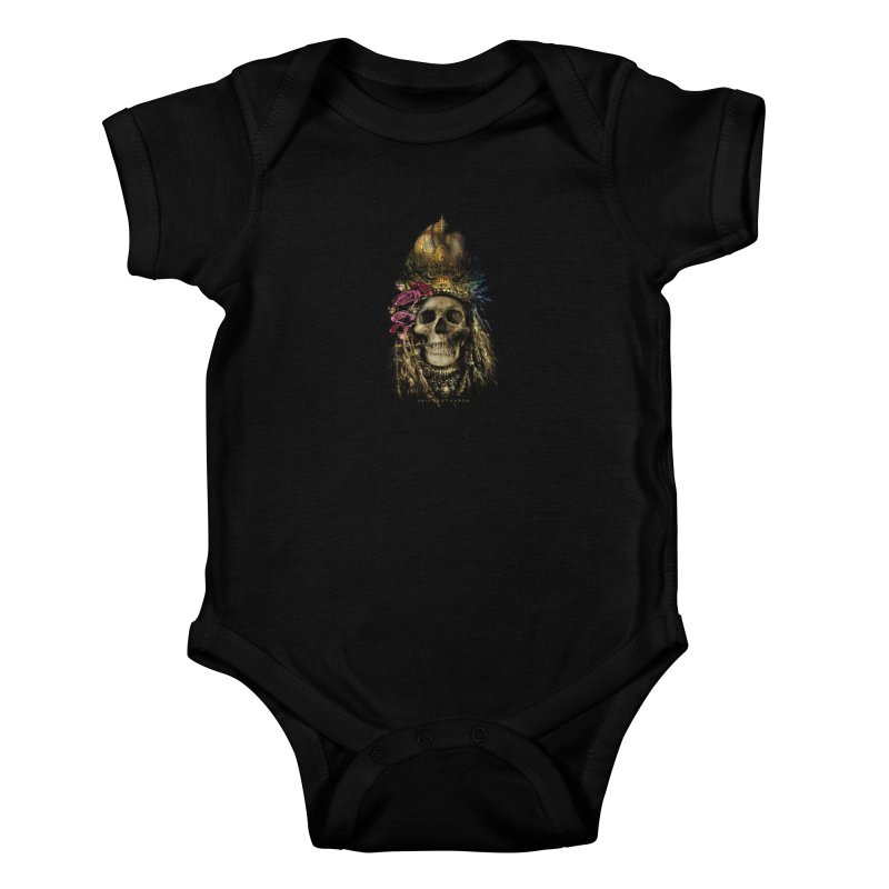 Skull Queen with Roses V2 Kids Baby Bodysuit by xristastavrou