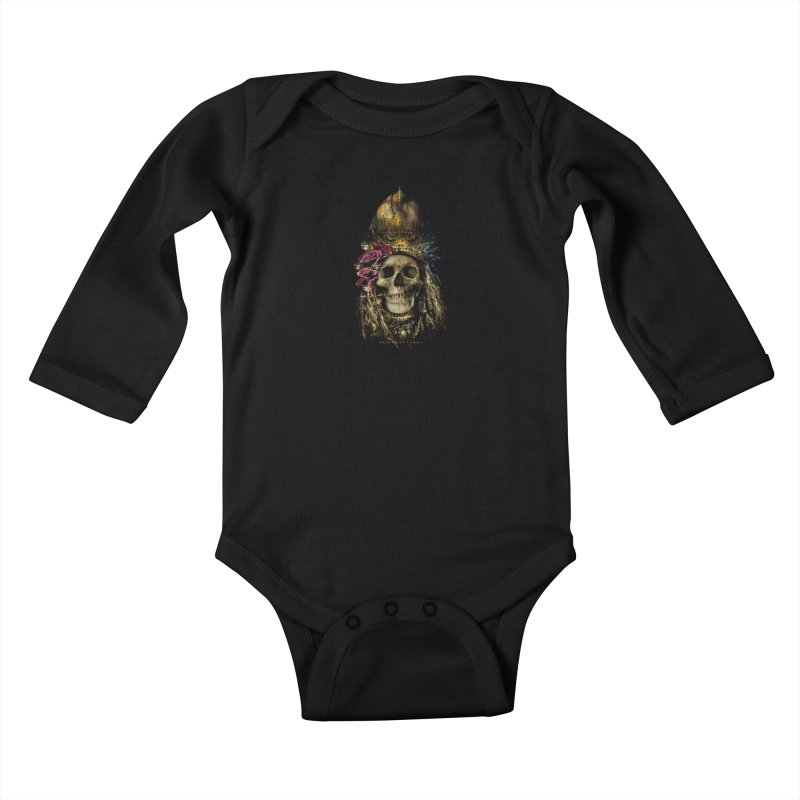 Skull Queen with Roses V2 Kids Baby Longsleeve Bodysuit by xristastavrou