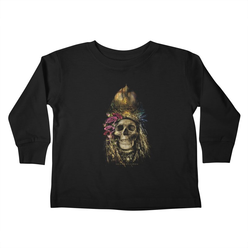 Skull Queen with Roses V2 Kids Toddler Longsleeve T-Shirt by xristastavrou