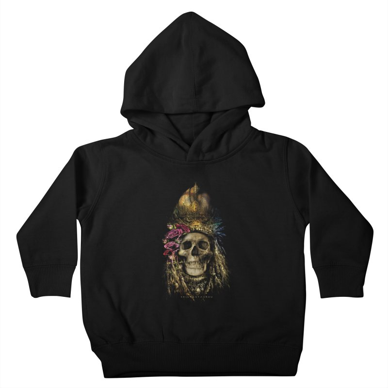Skull Queen with Roses V2 Kids Toddler Pullover Hoody by xristastavrou