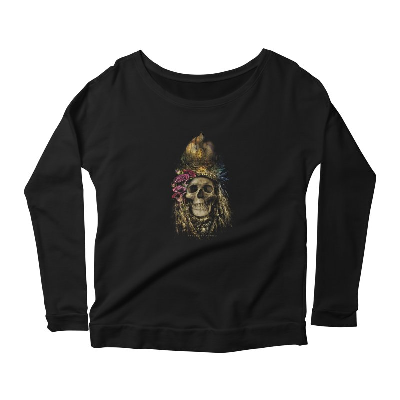 Skull Queen with Roses V2 Women's Scoop Neck Longsleeve T-Shirt by xristastavrou
