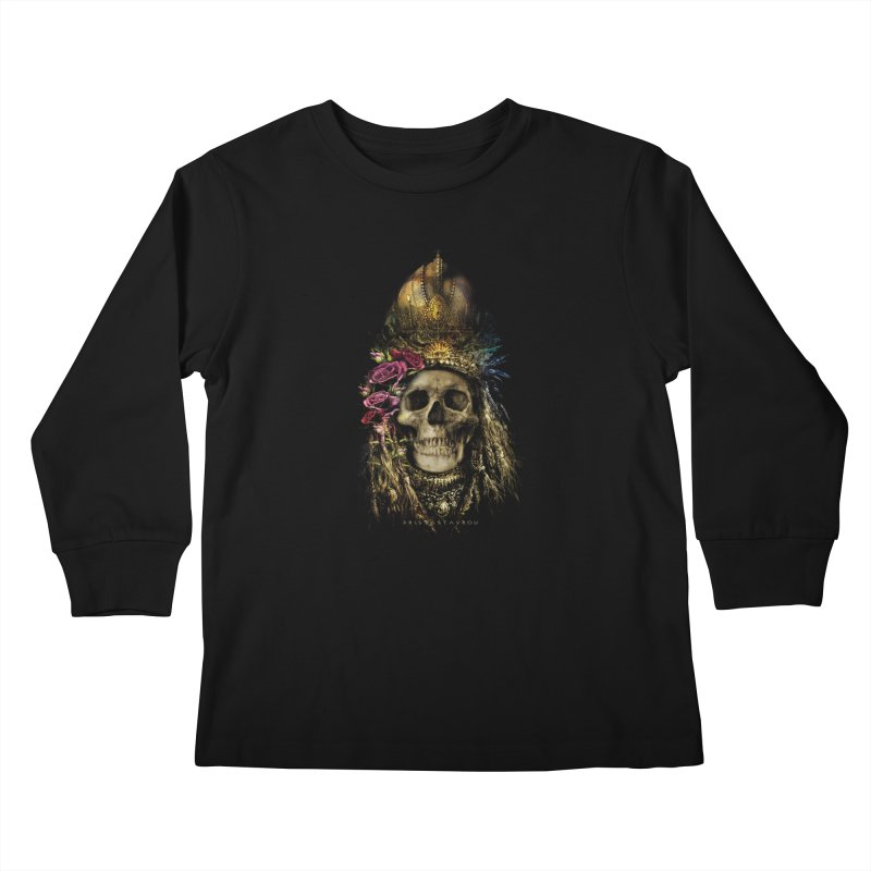 Skull Queen with Roses V2 Kids Longsleeve T-Shirt by xristastavrou