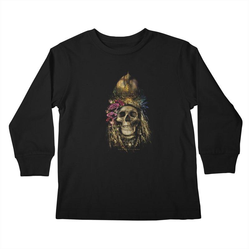 Skull Queen with Roses V2 Kids Longsleeve T-Shirt by xristastavrou
