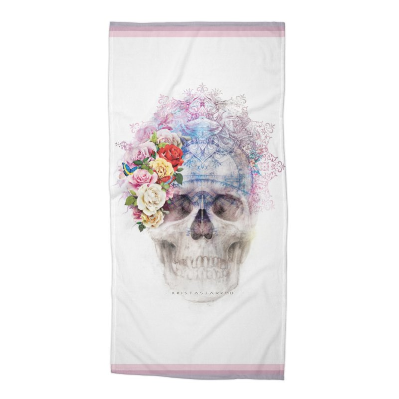 Skull Queen with Butterflies Accessories Beach Towel by xristastavrou