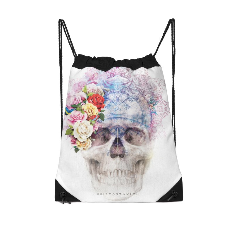 Skull Queen with Butterflies Accessories Drawstring Bag Bag by xristastavrou