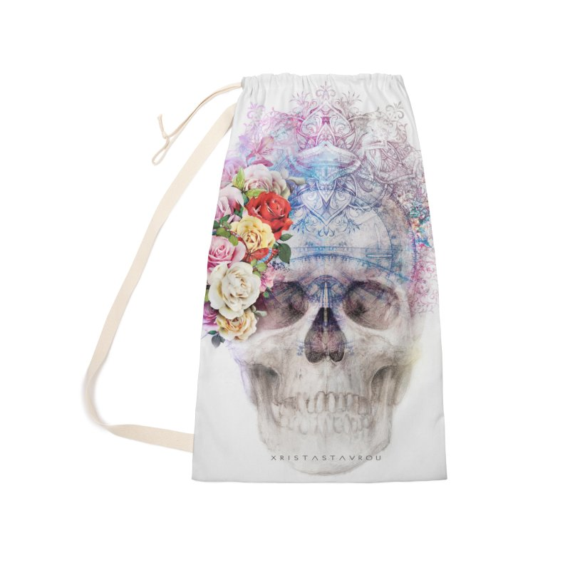 Skull Queen with Butterflies Accessories Laundry Bag Bag by xristastavrou