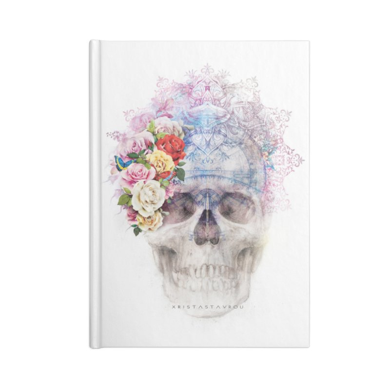 Skull Queen with Butterflies Accessories Lined Journal Notebook by xristastavrou