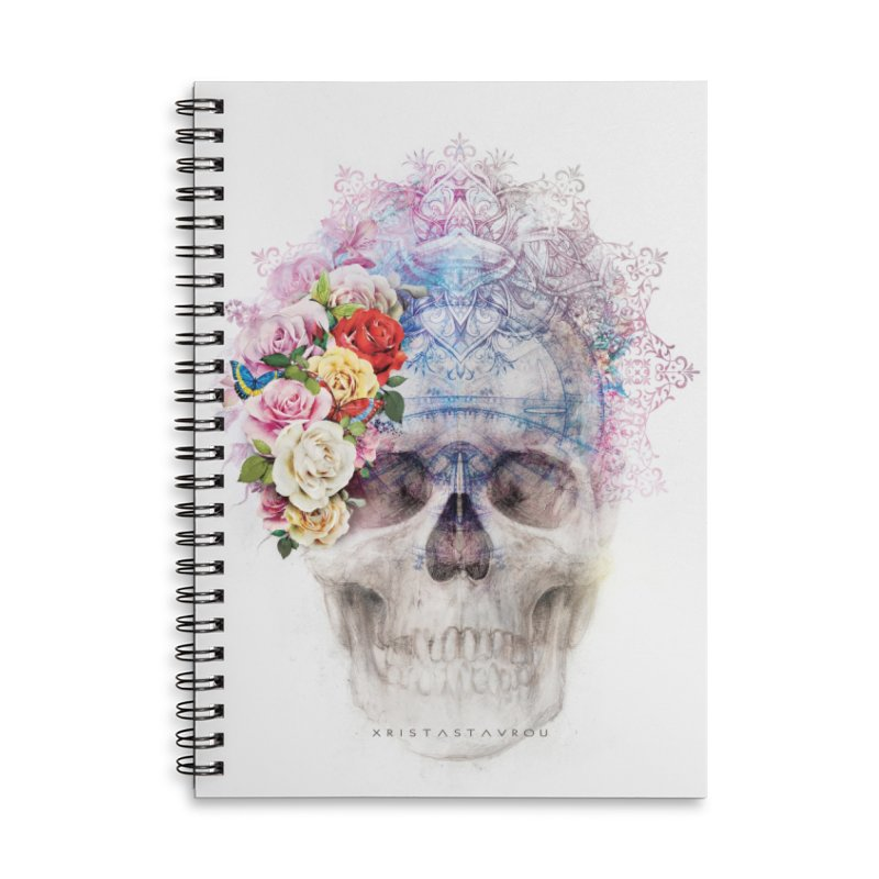 Skull Queen with Butterflies Accessories Lined Spiral Notebook by xristastavrou