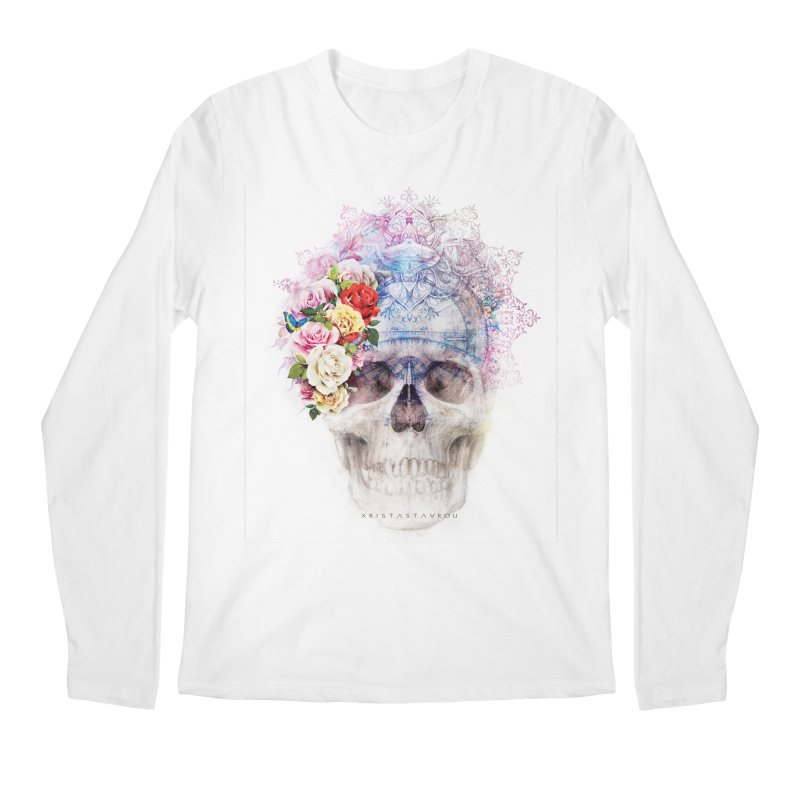 Skull Queen with Butterflies Men's Regular Longsleeve T-Shirt by xristastavrou