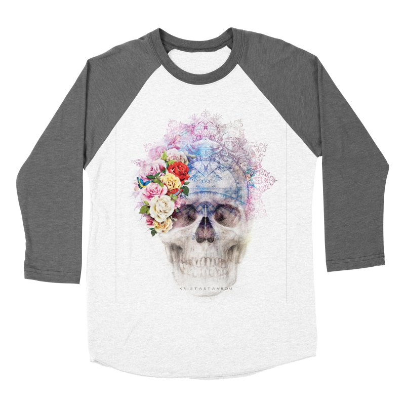 Skull Queen with Butterflies Women's Baseball Triblend Longsleeve T-Shirt by xristastavrou