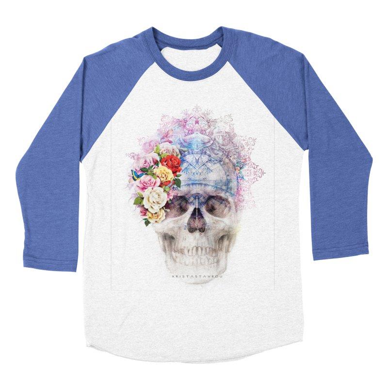 Skull Queen with Butterflies Men's Baseball Triblend Longsleeve T-Shirt by xristastavrou