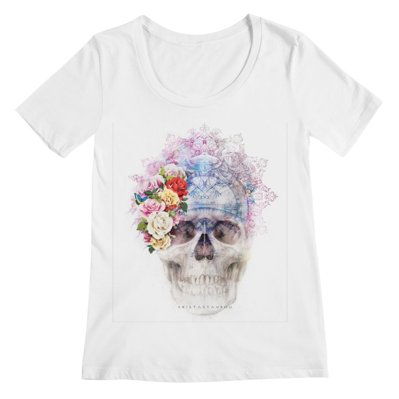 Skull Queen with Butterflies Women's Regular Scoop Neck by xristastavrou