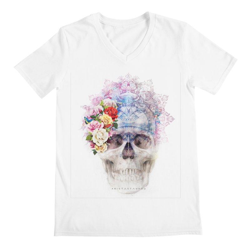 Skull Queen with Butterflies Men's Regular V-Neck by xristastavrou