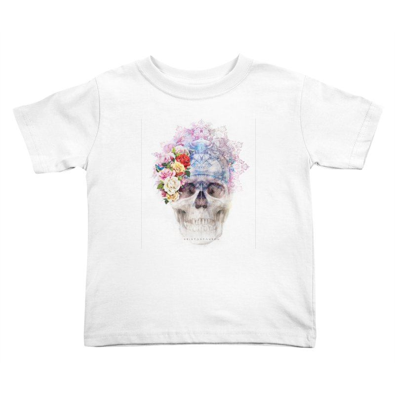 Skull Queen with Butterflies Kids Toddler T-Shirt by xristastavrou
