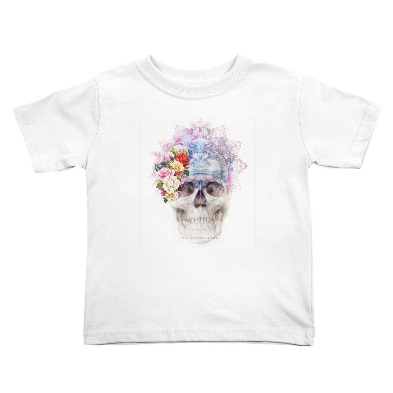 Skull Queen with Butterflies Kids Toddler T-Shirt by xristastavrou