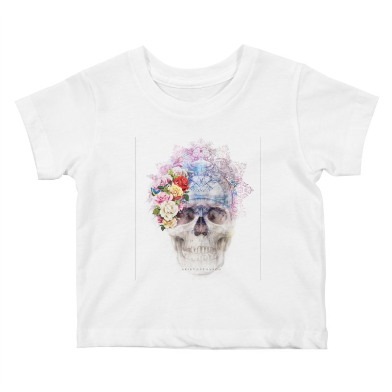 Skull Queen with Butterflies Kids Baby T-Shirt by xristastavrou