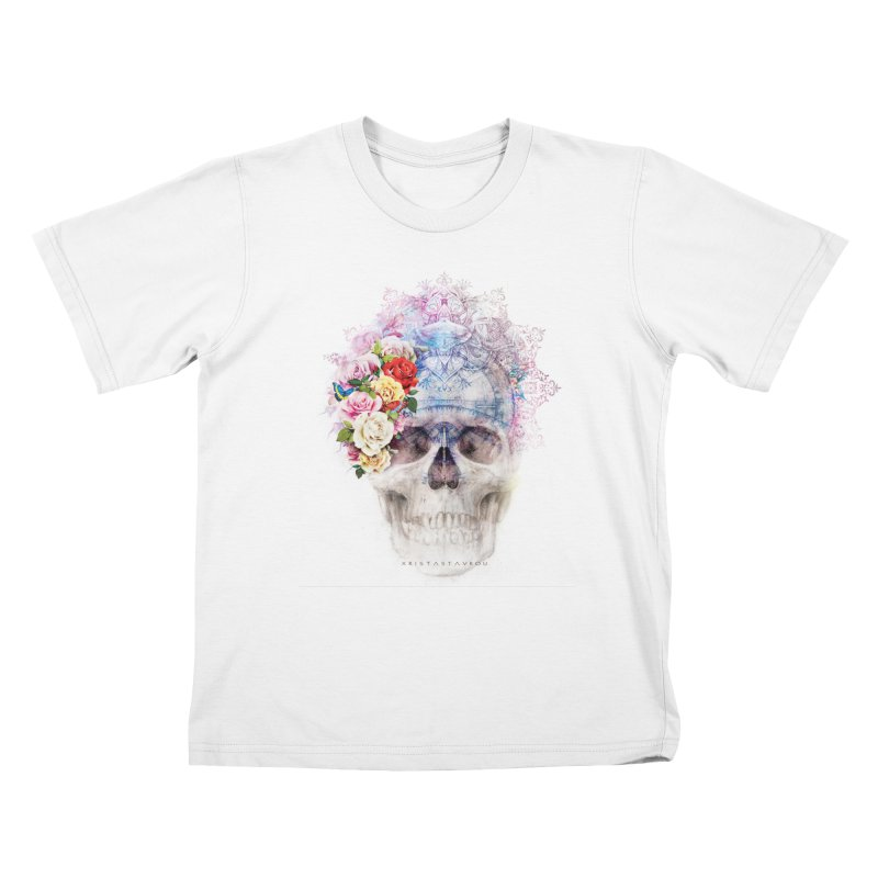Skull Queen with Butterflies Kids T-Shirt by xristastavrou