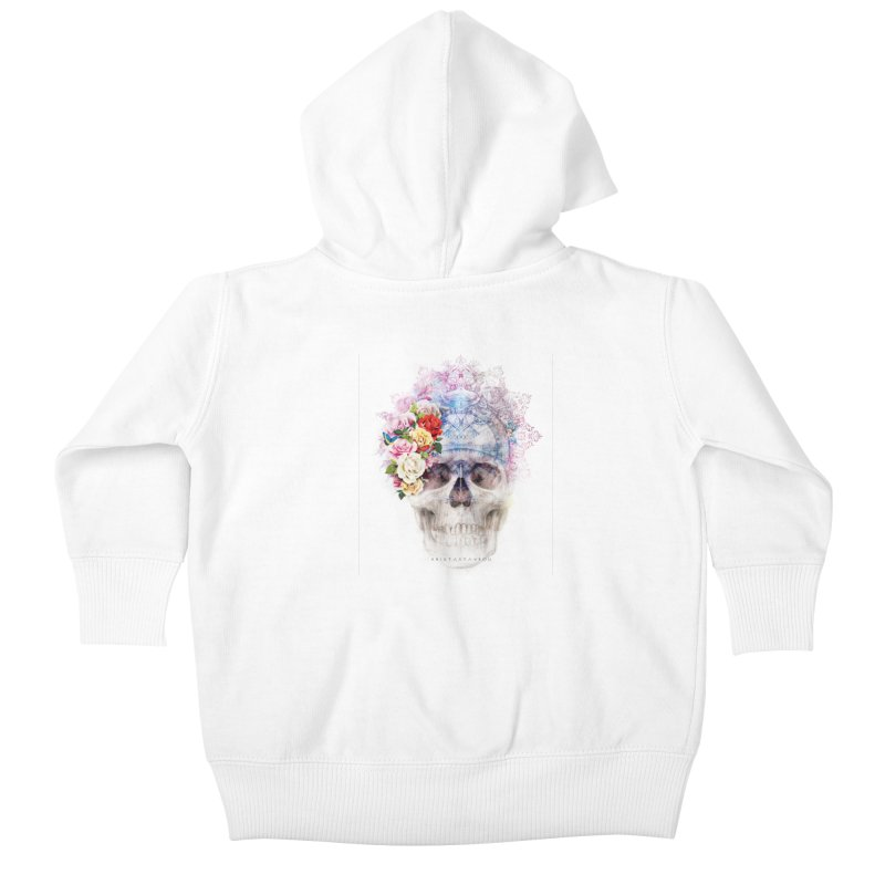 Skull Queen with Butterflies Kids Baby Zip-Up Hoody by xristastavrou