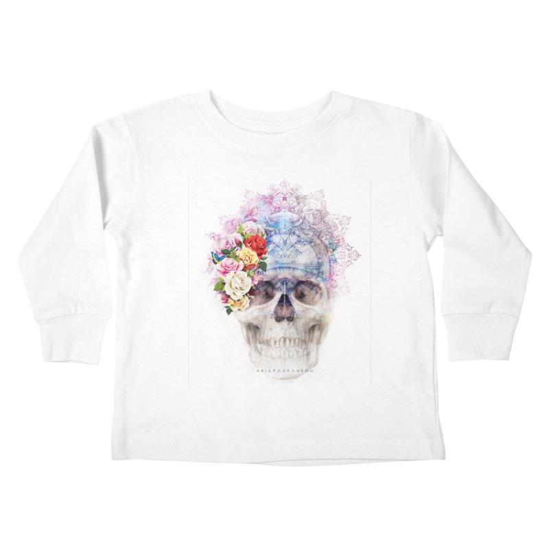 Skull Queen with Butterflies Kids Toddler Longsleeve T-Shirt by xristastavrou
