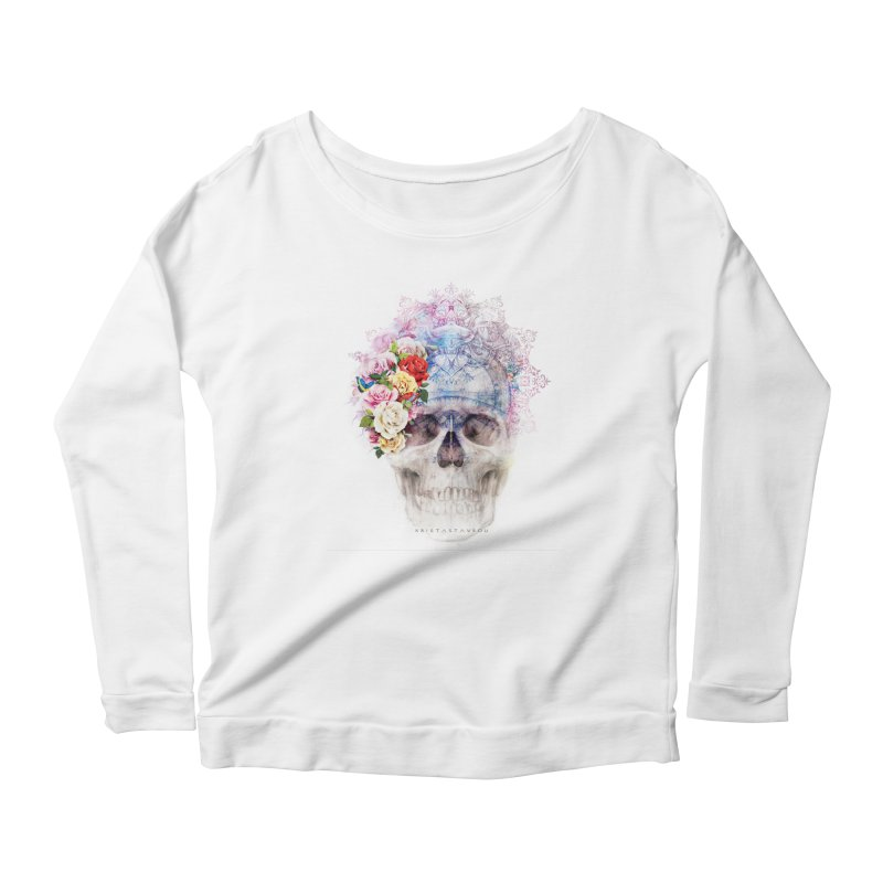 Skull Queen with Butterflies Women's Scoop Neck Longsleeve T-Shirt by xristastavrou