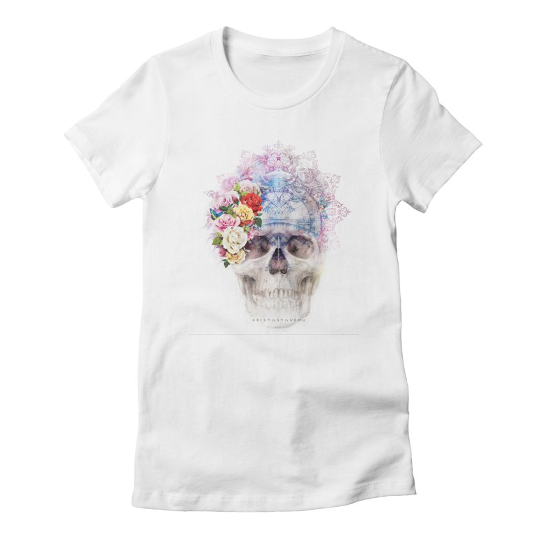 Skull Queen with Butterflies Women's Fitted T-Shirt by xristastavrou