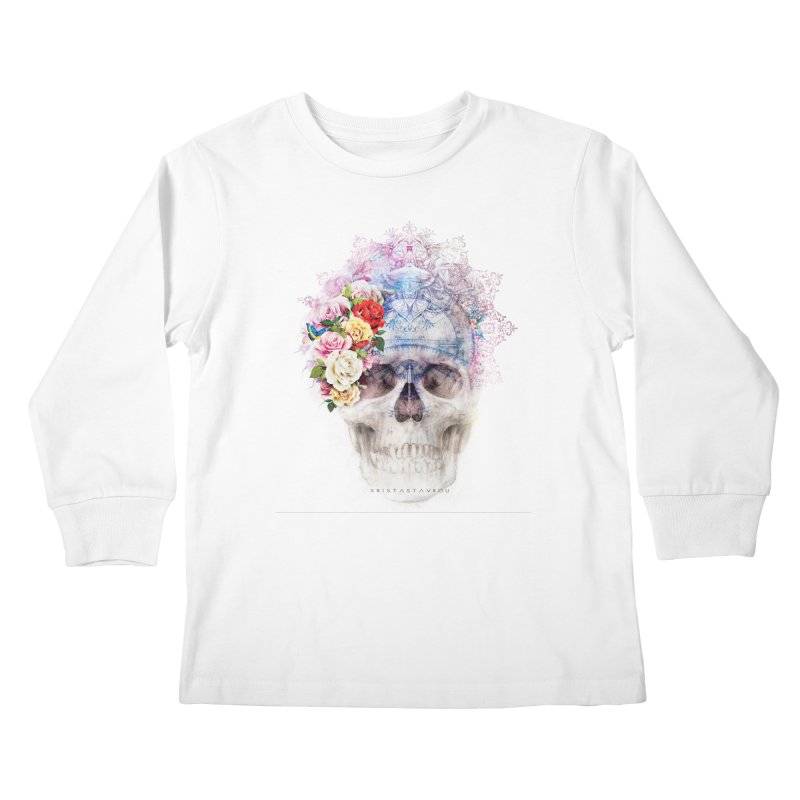 Skull Queen with Butterflies Kids Longsleeve T-Shirt by xristastavrou