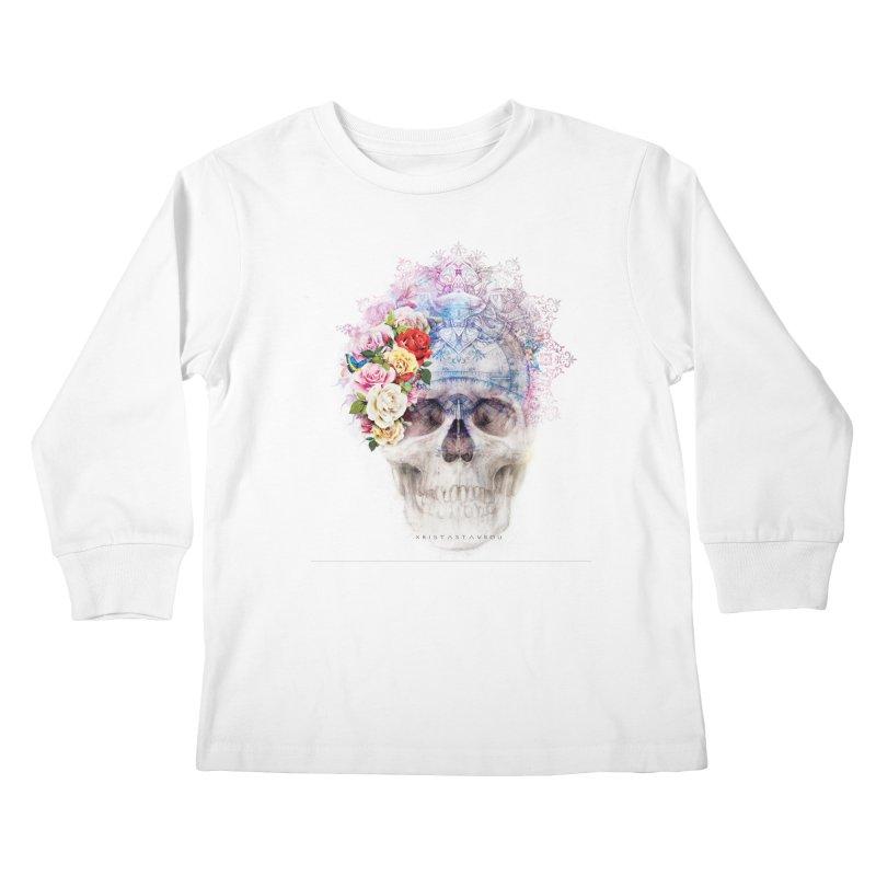 Skull Queen with Butterflies Kids Longsleeve T-Shirt by xristastavrou