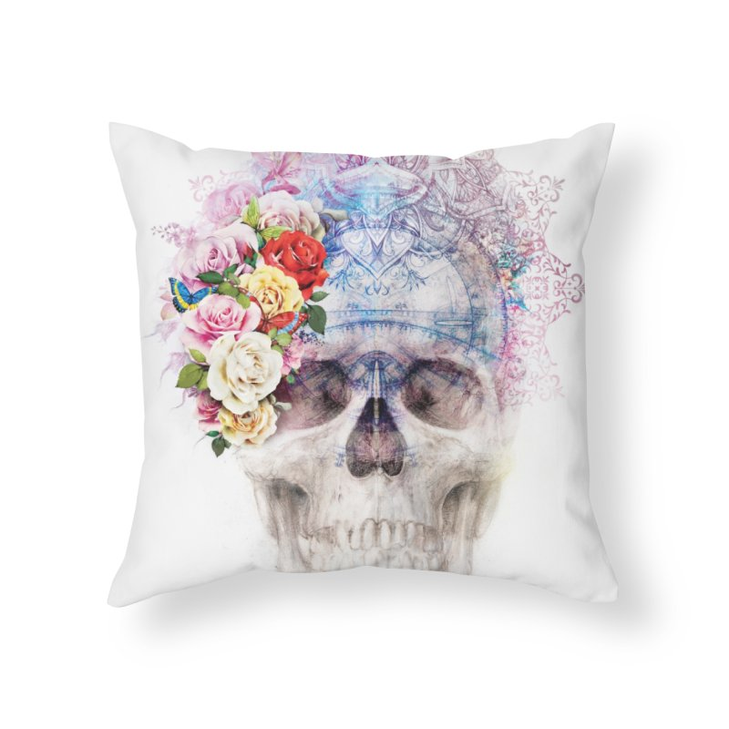 Skull Queen with Butterflies Home Throw Pillow by xristastavrou