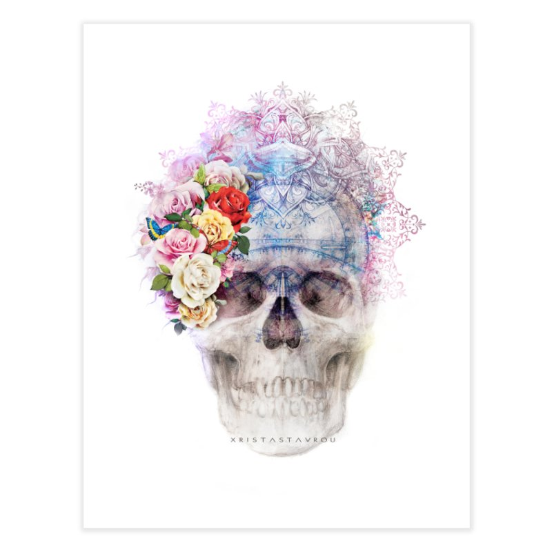 Skull Queen with Butterflies Home Fine Art Print by xristastavrou