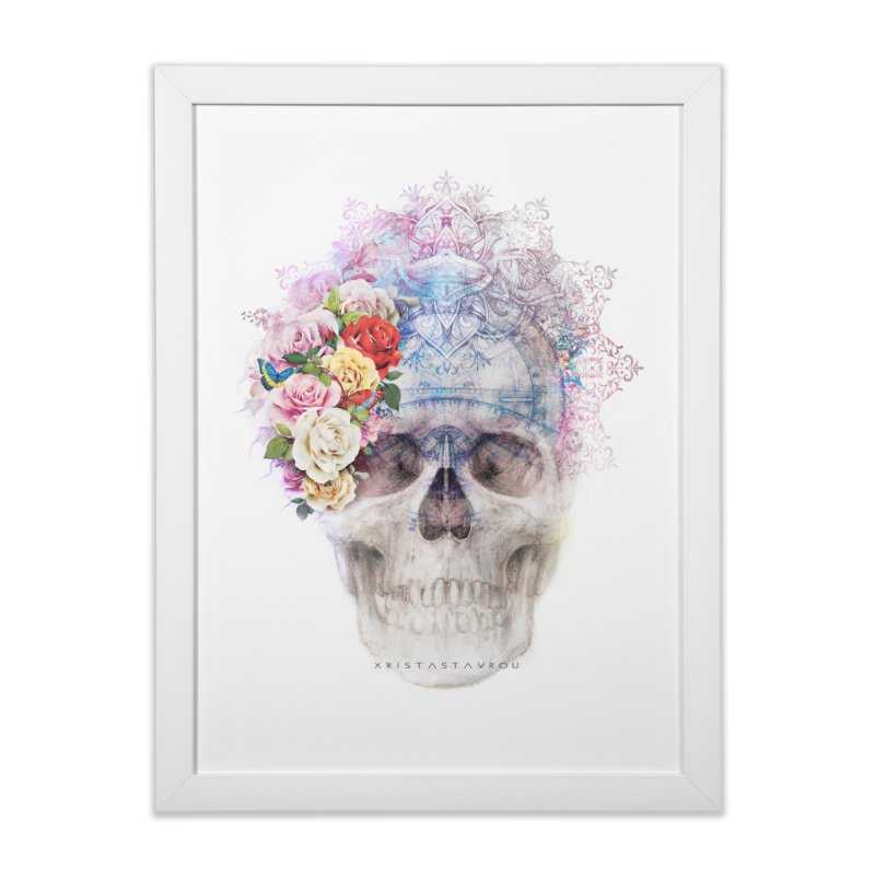 Skull Queen with Butterflies Home Framed Fine Art Print by xristastavrou