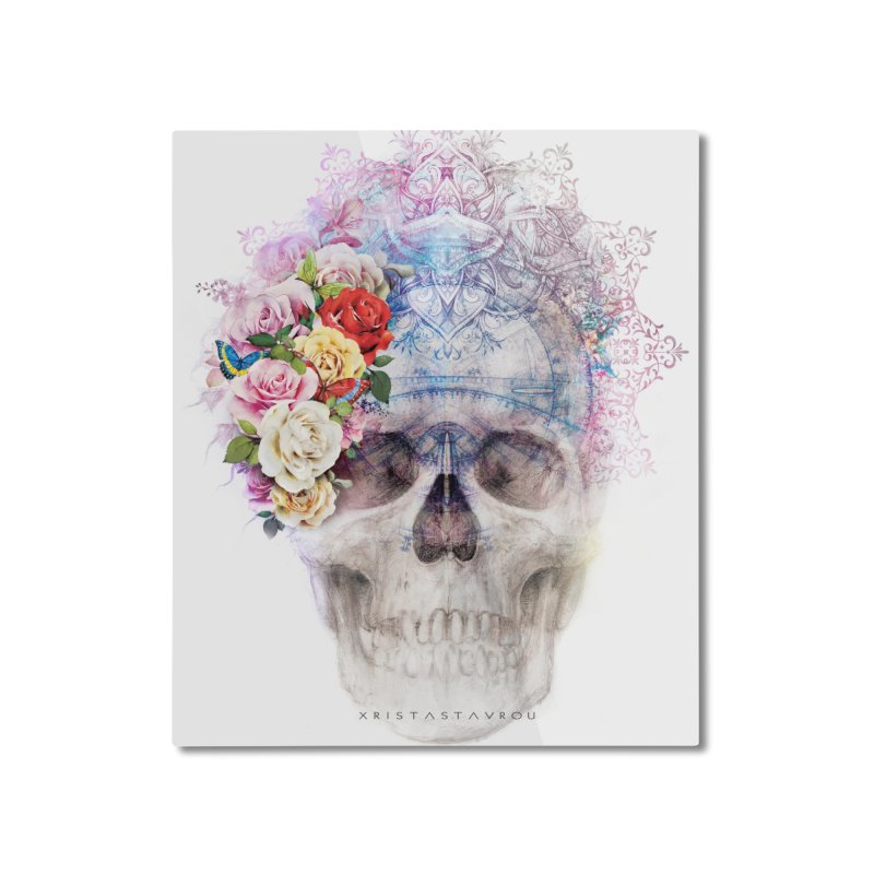 Skull Queen with Butterflies Home Mounted Aluminum Print by xristastavrou