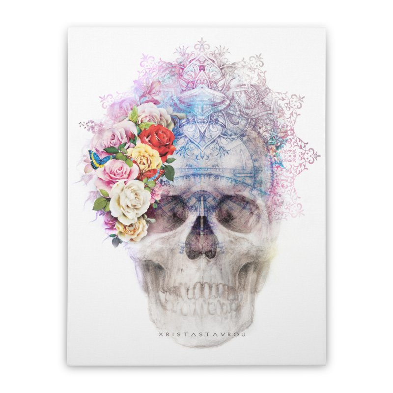 Skull Queen with Butterflies Home Stretched Canvas by xristastavrou