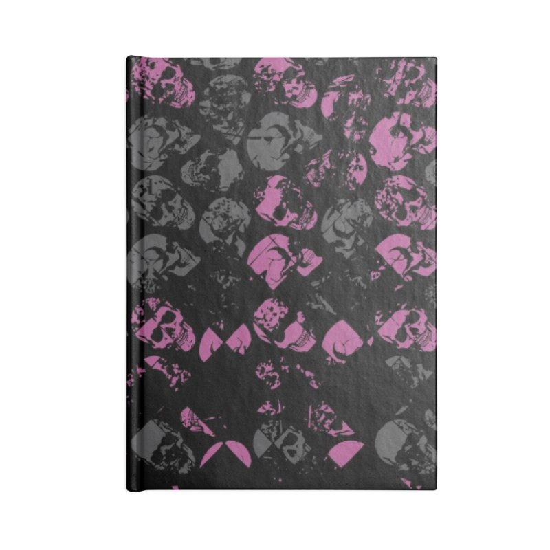 Skulls Pink Accessories Lined Journal Notebook by xristastavrou