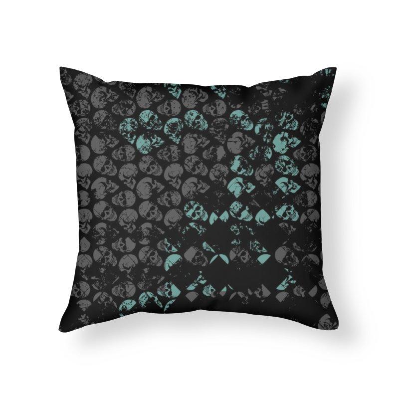 Skulls Turquoise Home Throw Pillow by xristastavrou