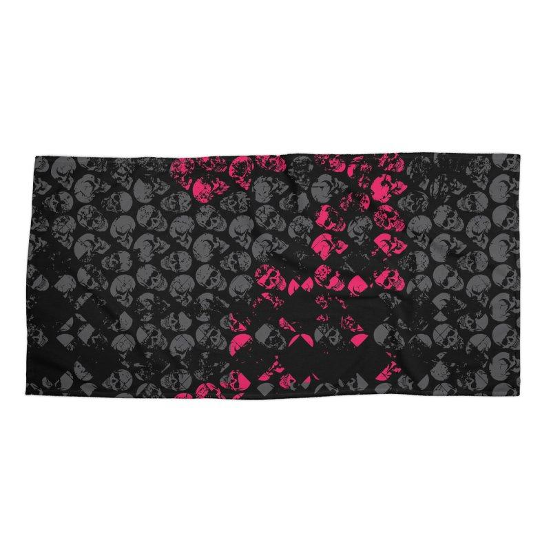 Skulls Fuchsia Accessories Beach Towel by xristastavrou