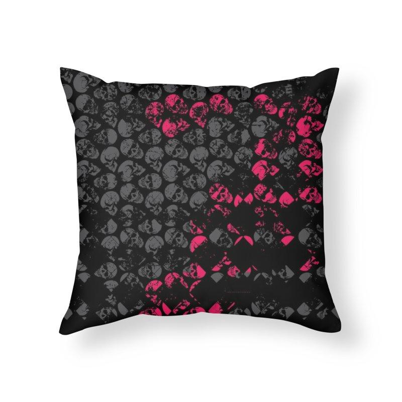 Skulls Fuchsia Home Throw Pillow by xristastavrou