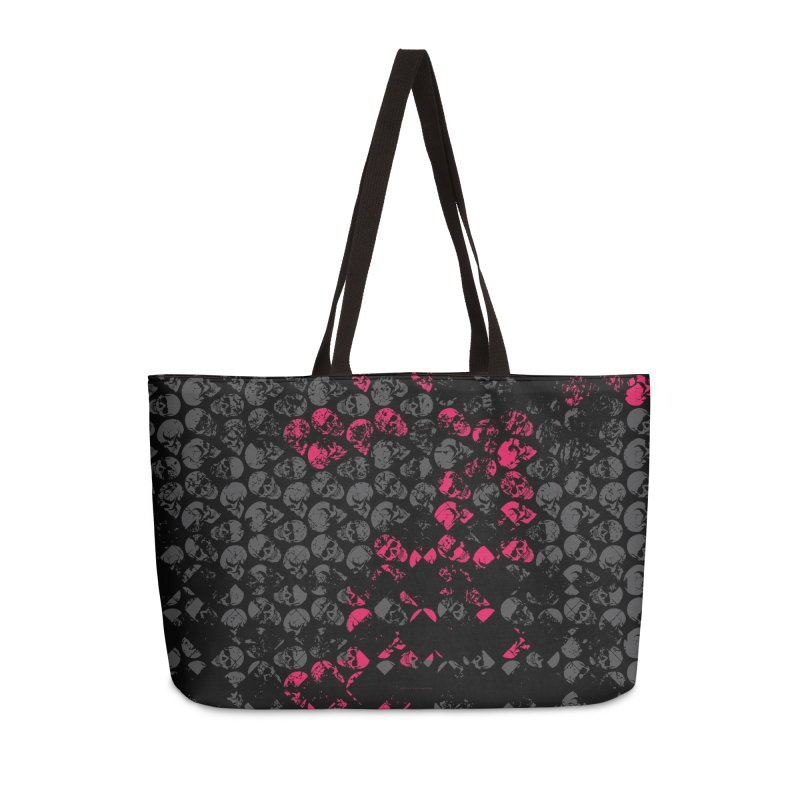 Skulls Fuchsia Accessories Weekender Bag Bag by xristastavrou