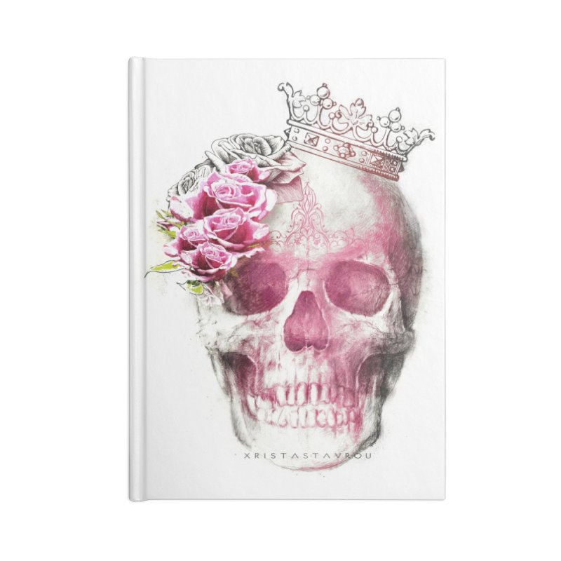Skull Queen Accessories Lined Journal Notebook by xristastavrou