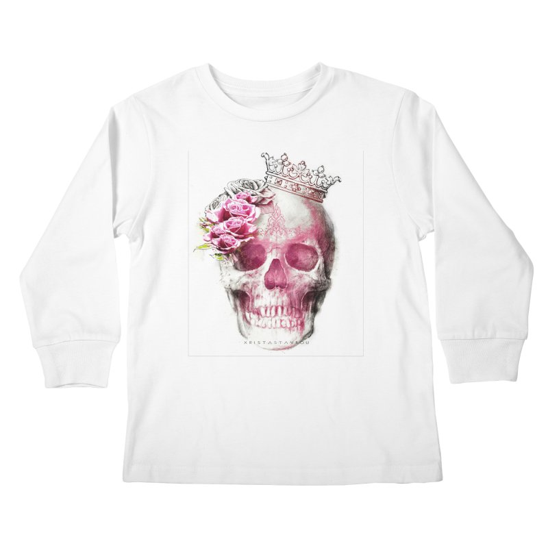 Skull Queen Kids Longsleeve T-Shirt by xristastavrou