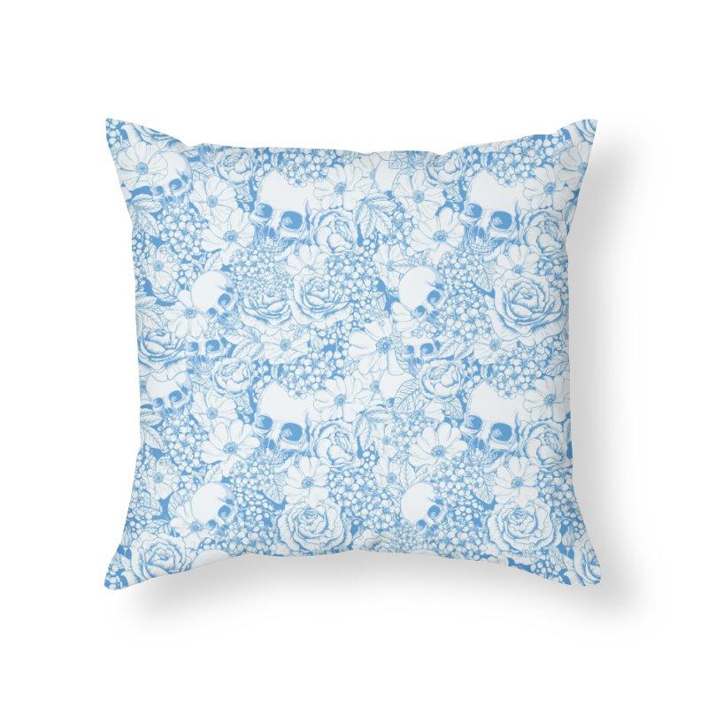 Skulls Blue Home Throw Pillow by xristastavrou