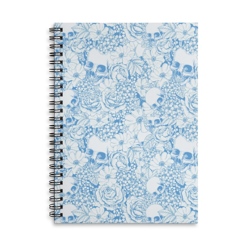 Skulls Blue Accessories Lined Spiral Notebook by xristastavrou