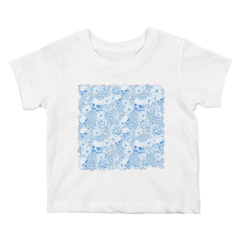 Skulls Blue Kids Baby T-Shirt by xristastavrou