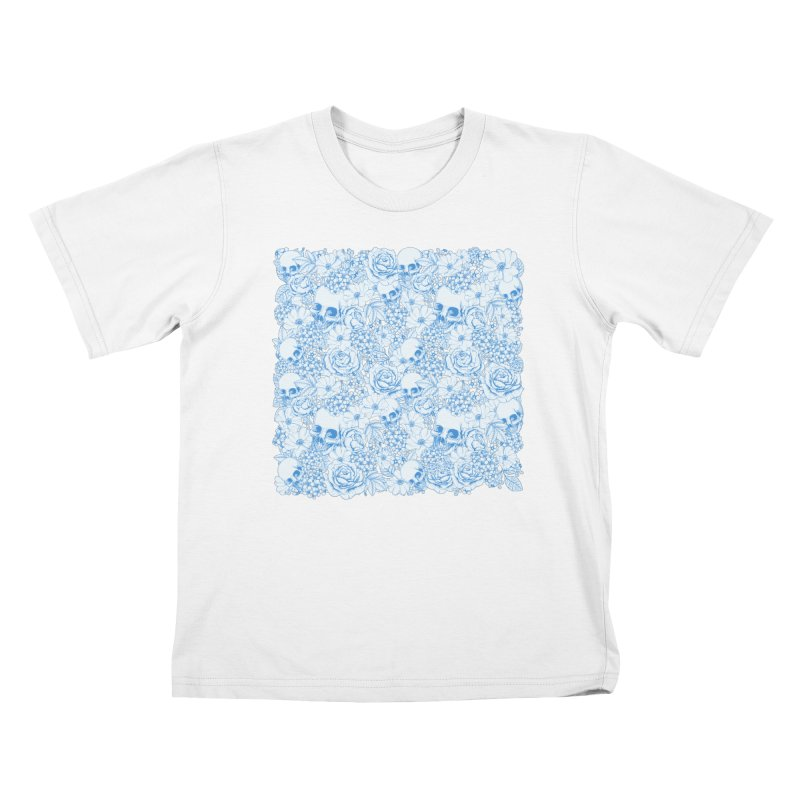 Skulls Blue Kids T-Shirt by xristastavrou
