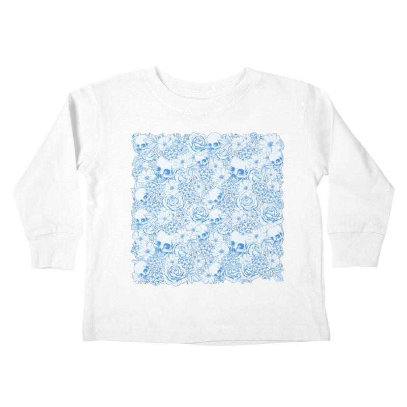 Skulls Blue Kids Toddler Longsleeve T-Shirt by xristastavrou