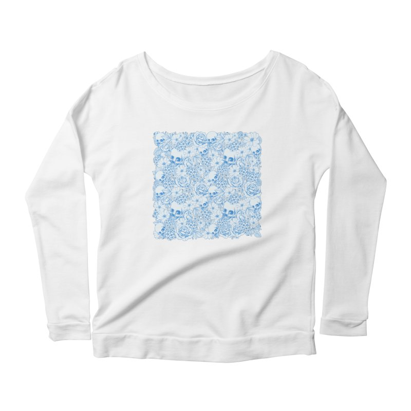 Skulls Blue Women's Scoop Neck Longsleeve T-Shirt by xristastavrou